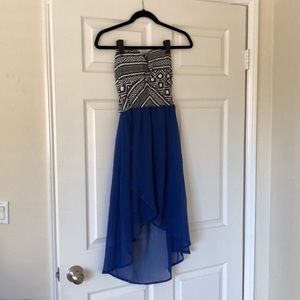 Charlotte Russe Black white blue strapless dress